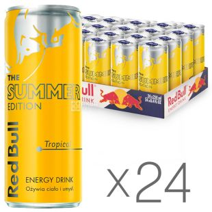 Red Bull Summer Edition, Tropical, упаковка 24 шт. по 0,25 л, Напій енергетичний Ред Булл Саммер Едішн, Тропічний