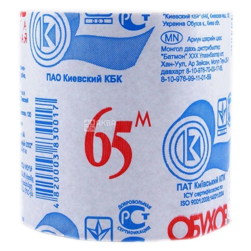 Туалетная бумага Обухов 8 рулонов, однослойная 65 м