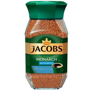 Jacobs Monarch, 95 г, Кава Якобс Монарх, розчинна, без кофеїну, скло