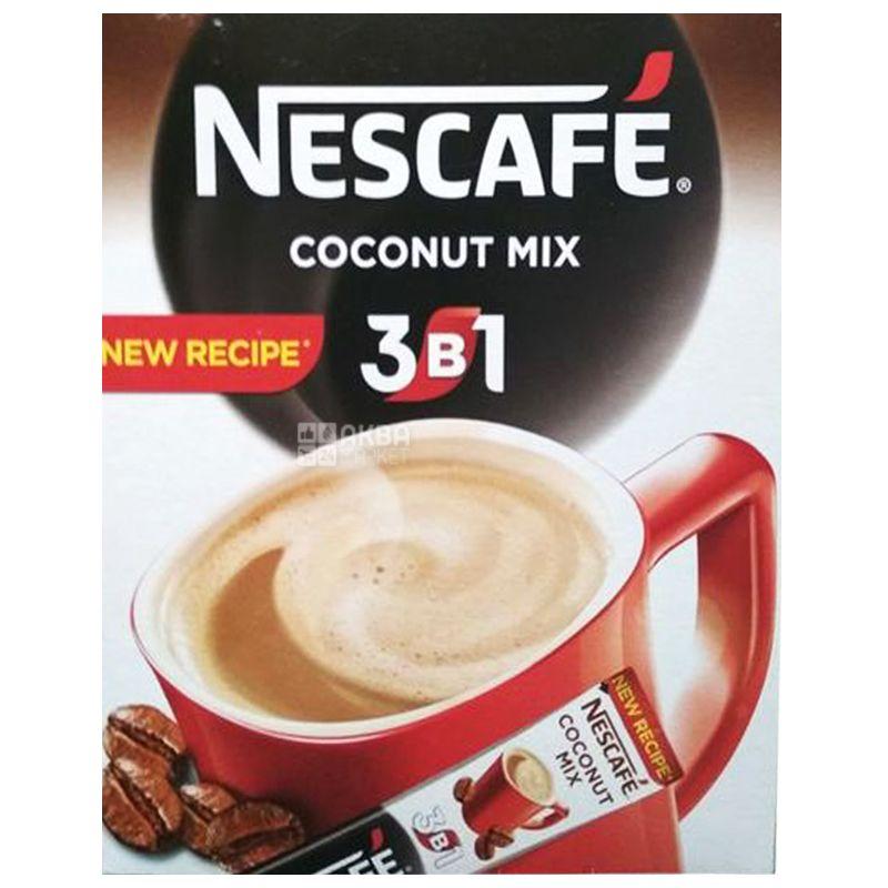Nescafe Coconut Mix 3 в 1, 20 шт. х 13 г, Кофейный напиток Нескафе Коконат Микс, растворимый, в стиках