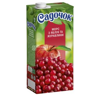 Садочок, Яблуко-журавлина, 0,95 л, Морс фруктово-ягідний, натуральний