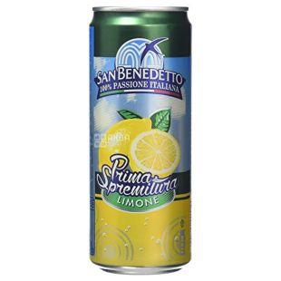 San Benedetto, Prima Spremitura Limone, 0,33 л, Сан Бенедетто, Напиток соковый, Лимон, сильногазированный, ж/б