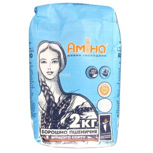 Амина, Мука пшеничная, высший сорт, 2 кг