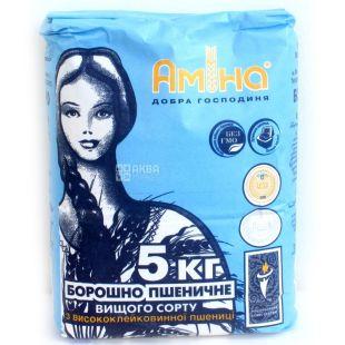Амина, Мука пшеничная, высший сорт, 5 кг