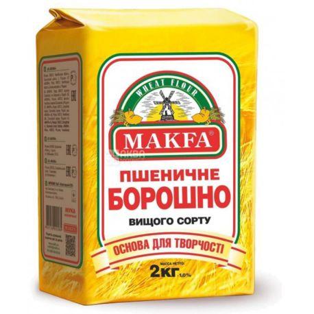 Макфа, Мука пшеничная, Премиум, высший сорт, 2 кг