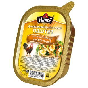Hame Паштет, Из мяса птицы деликатесный, 215 г, Алюминиевая банка