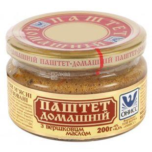 Онисс Паштет Домашний с маслом, 200 г, Стеклянная банка