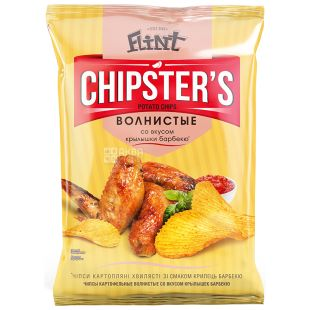Flint Chipsters чипси картопляні зі смаком крилець барбекю, 70 г, м/у