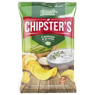 Flint Chipsters чипсы картофельные со вкусом сметаны с зеленью, 70 г, м/у
