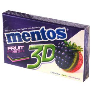 Mentos, 33 г, Жувальна гумка, 3D, Зі смаком ожини, ківі та полуниці, м/у