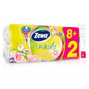 Zewa, 8+2 рулона, Туалетная бумага, Deluxe, Белая (цветы), м/у