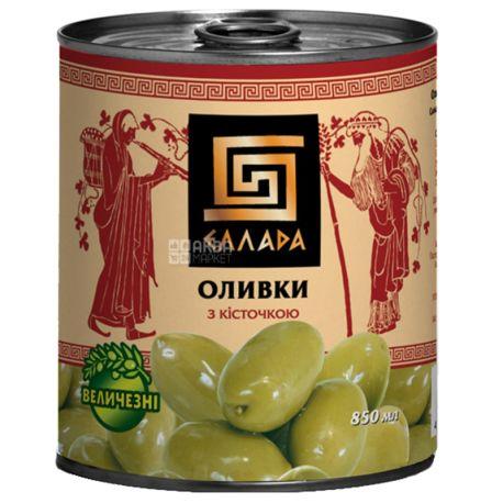 Ellada Green Olives, with stone, 850g, w / w