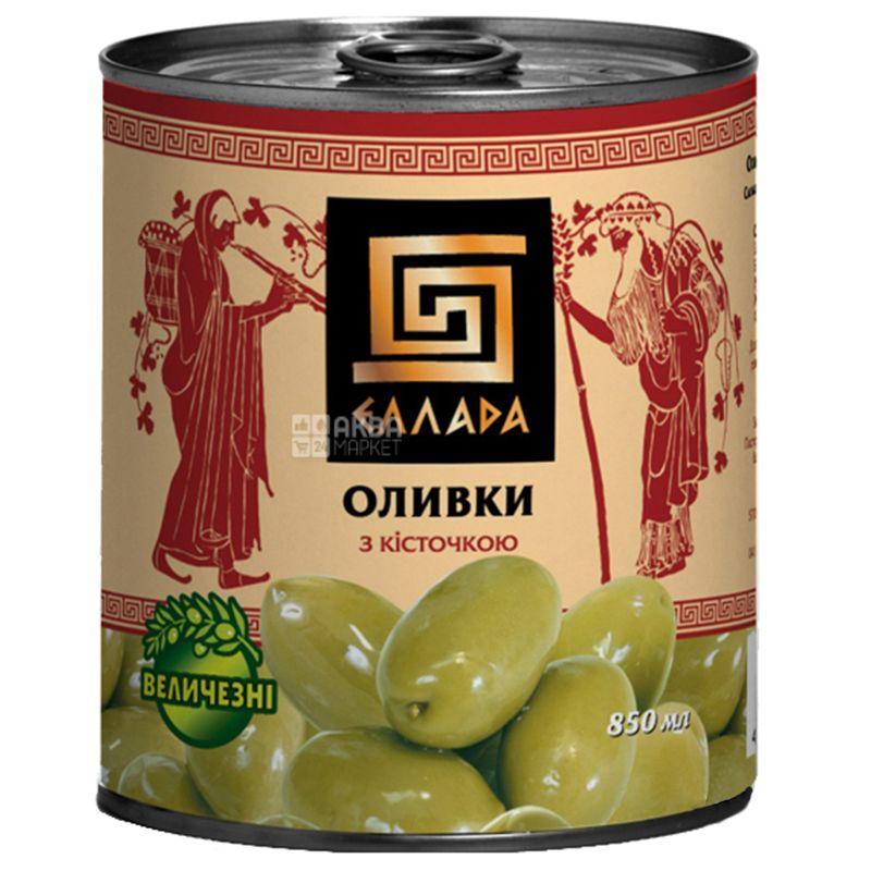 Ellada Оливки зеленые с косточкой, 850г, ж/б