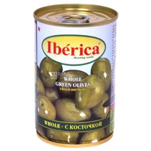 Iberica Оливки зеленые с косточкой, 420г, ж/б