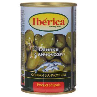 Iberica Оливки зеленые с анчоусом, 300г, ж/б