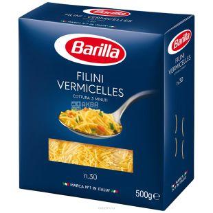 Barilla, 500 г, Макароны, Filini, Вермишель, №30, картон