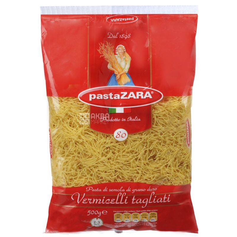 Pasta Zara Vermicelli Tagliati №80, 500 г, Макароны Вермишель Паста Зара Таглиати