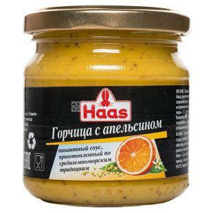 Haas Горчица с апельсином, 210 г, Стеклянная банка