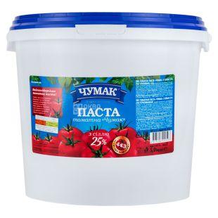 Чумак Томатная паста с солью, 25%, 5000 г, Ведро