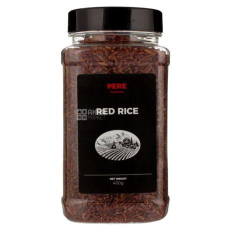 Pere, Red Rice, 0,4 кг, Рис Пере, Ред Райс, довгозернистий, нешліфований, червоний, ПЕТ