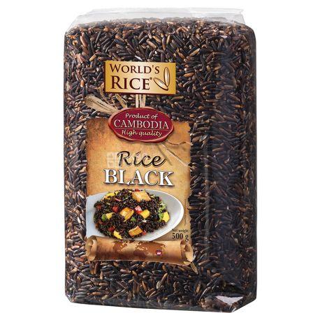 World's Rice, Black, 0,5 кг, Рис Ворлдс Райс, Чорний, довгозернистий, нешліфований