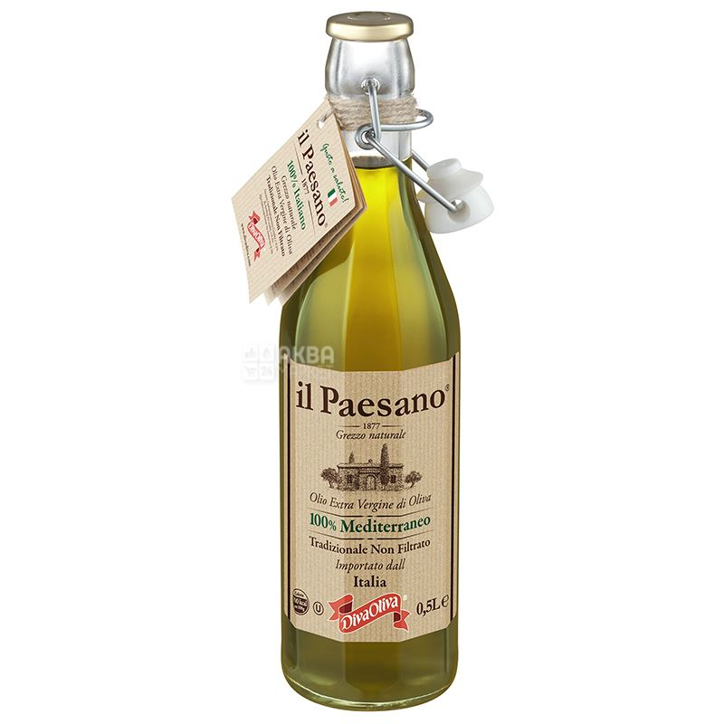 Il Paesano Масло оливковое Extra Vergine нефильтрованное, 500 мл, стеклянная бутылка