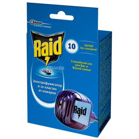 Raid, 1 шт., Набір, Електрофумігатор+пластини від комарів, картон