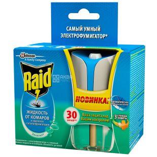 Raid, 1 шт., Комплект, Електрофумігатор з регулятором інтенсивності і таймером+рідина, Евкаліпт, 30 ночей