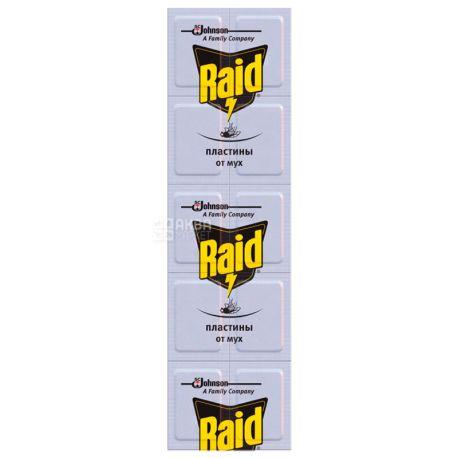 Raid, 10 шт., Пластини від мух, Без аромату, Для електрофумігатора