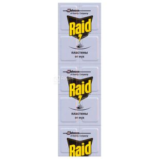 Raid, 10 pcs., Fly plates, Odorless, For electric fumigator