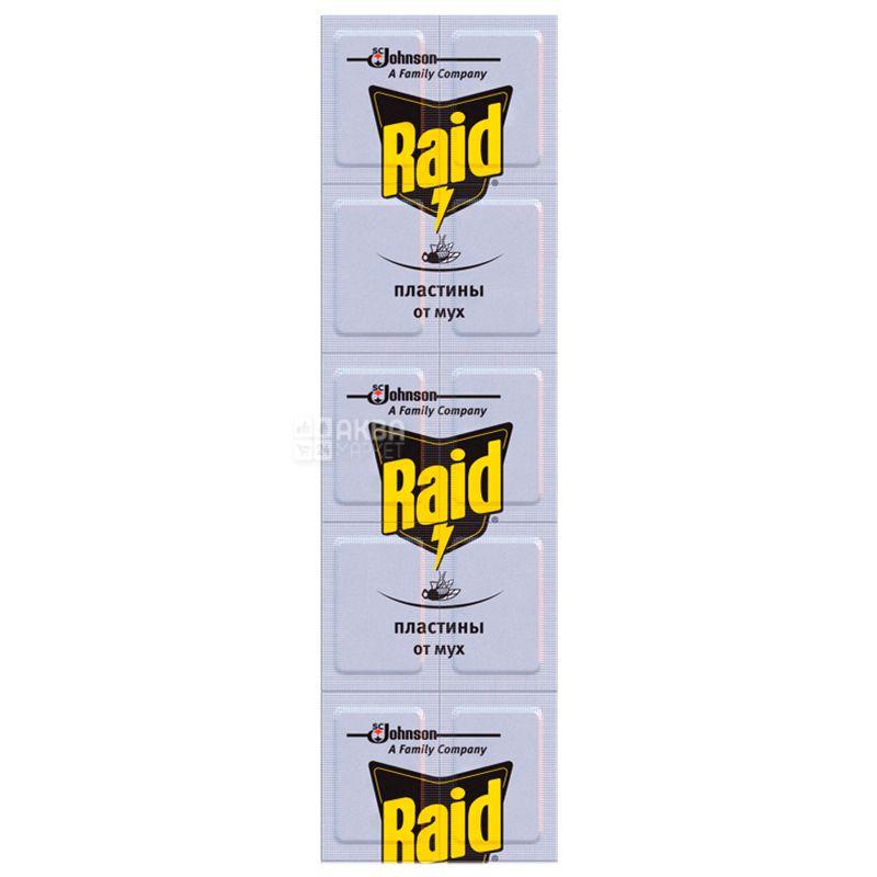Raid, 10 шт., Пластины от мух, Без запаха, Для электрофумигатора