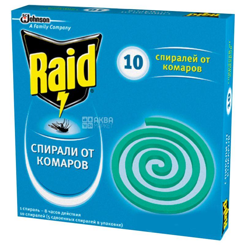 Raid, 10 шт., Спирали от комаров, картон