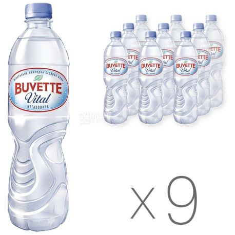 Buvette Vital, 0,5 л, Упаковка 9 шт., Бювет Витал, Вода минеральная негазованная, ПЭТ