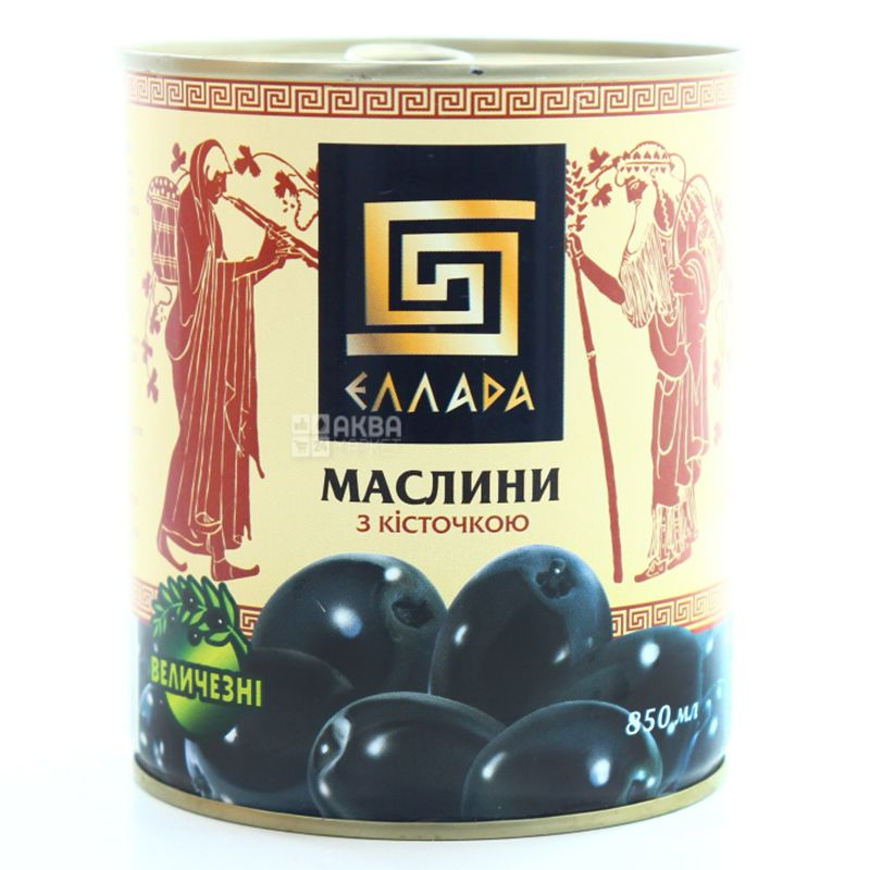 Ellada, 850 ml, Olives, Black, With stone, w / w