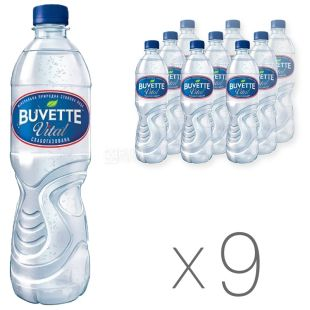 Buvette, Pack of 9 pcs. 0.5 l each, Low Carbonated Water, Mineral, Natural, Dining Room, Vital, PET, PAT