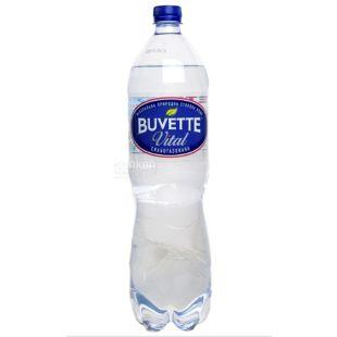 Buvette Vital, Вода минеральная слабогазированная, Природная-столовая, 1,5 л, Упаковка 6 шт., ПЭТ
