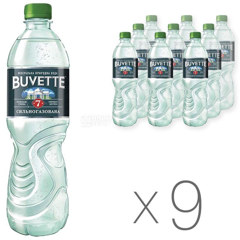 Buvette №7, 0,5 л, Упаковка 9 шт., Бювет, Вода минеральная сильногазированная, ПЭТ