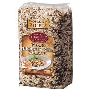 World's rice суміш рису Натурал + Червоний + Чорний, 500 г, пакет
