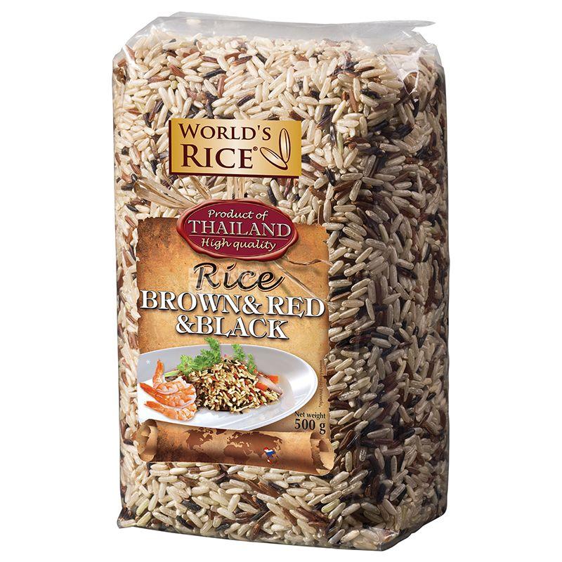 World's Rice, Brown&Red&Black, 0,5 кг, Рис Ворлдс Райс, смесь, коричневый, красный, черный