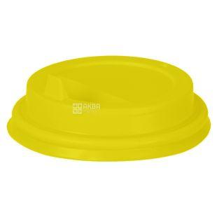 Кришка для одноразового стакана 250 мл, Жовта, 50 шт,  D80