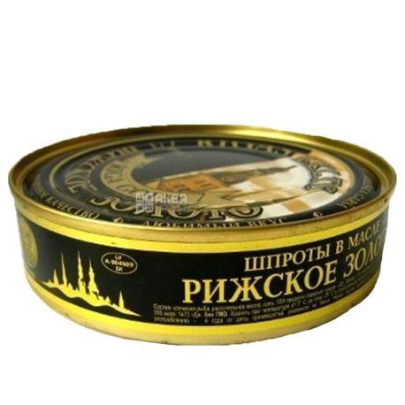 Рижское золото, 160 г, Шпроты, В масле, ж/б