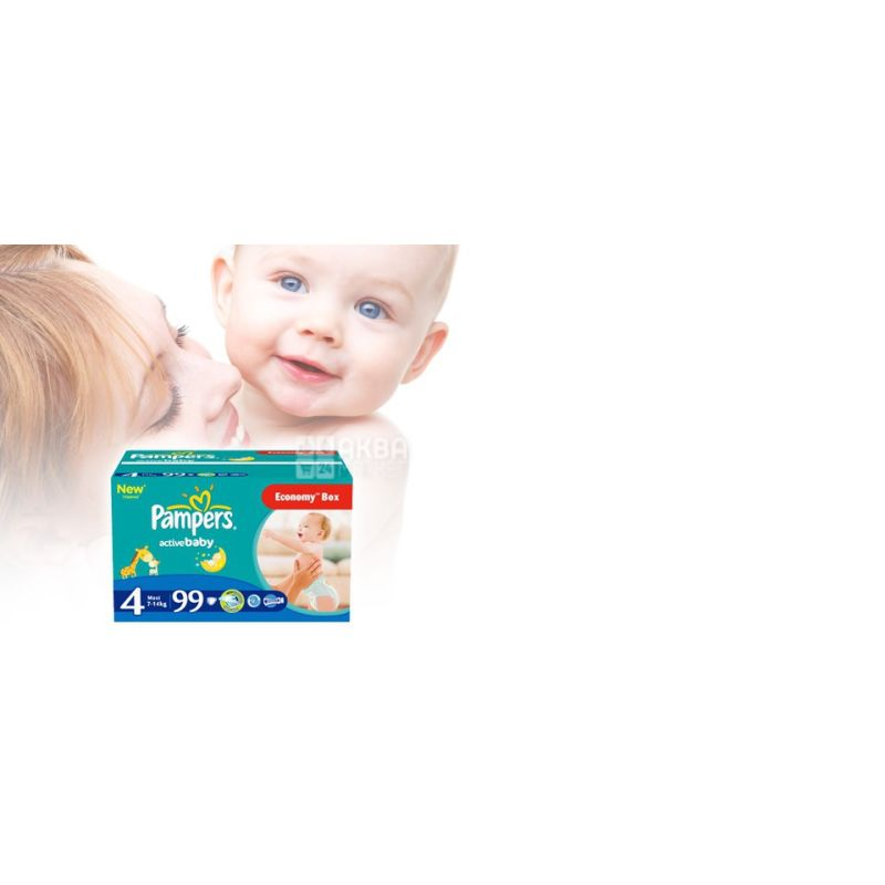 Pampers, 4 / 99 шт. 7-14 кг, підгузники, Active Baby Dry