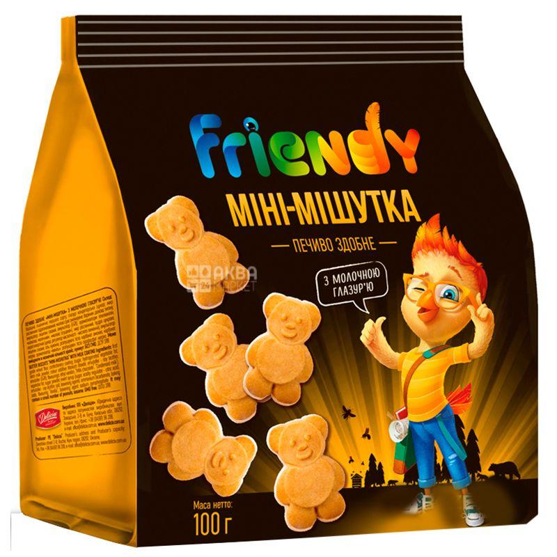 Делиция Печенье Friendy сдобное мини-мишутка с молочной глазурью, 100 г, Полиэтиленовый пакет