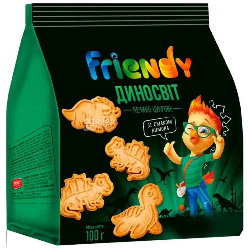 Делиция Печенье Friendy, Сахарное ДиноМир, 100 г, Полиэтиленовый пакет