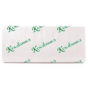 Кохавинка, Полотенца бумажные двухслойные, Z-сложения, белые, 160 листов