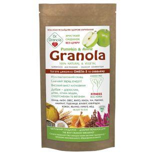Dr. Granola, 125 г, Сухий сніданок, Гранола, Гарбуз та яблуко, Без цукру, дой-пак
