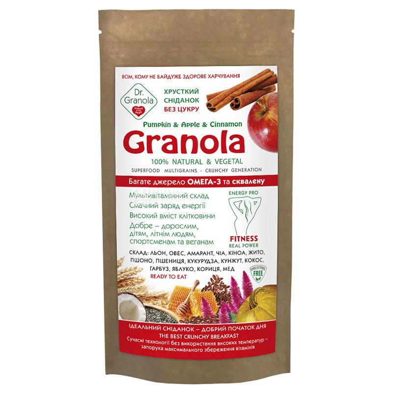 Dr.Granola, Pumpkin & Apple & Cinnamon, 125 г, Гранола, гарбуз, яблуко, кориця, без цукру