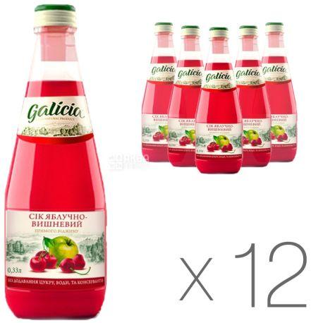 Galicia, Яблочно-вишневый, Упаковка 12 шт. по  0,3 л, Галиция, Сок натуральный, без добавления сахара, стекло