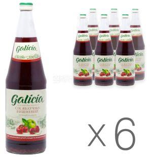 Galicia, Упаковка 6 шт по 1 л, Сік, Яблучно-вишневий, Скло