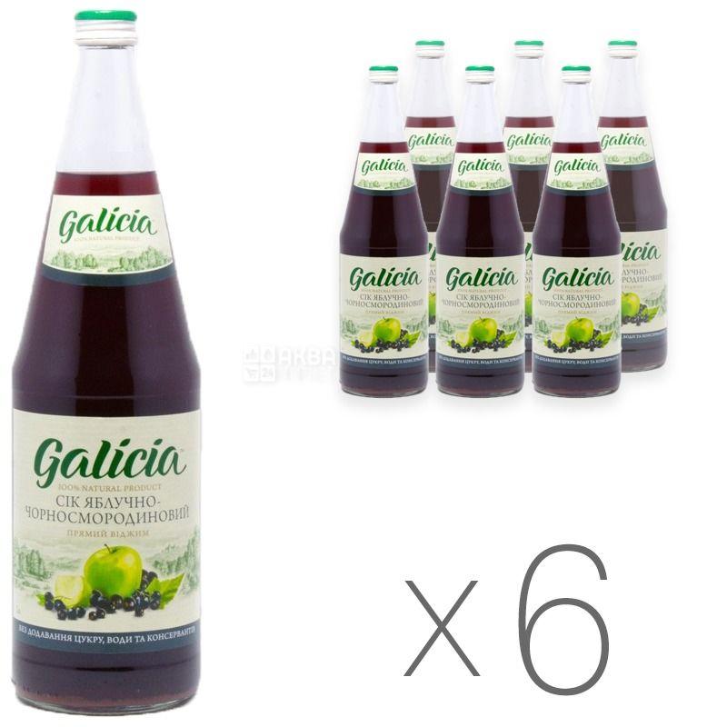 Galicia, Яблочно-черносмородиновый, Упаковка 6 шт. по 1 л, Галиция, Сок натуральный, без добавления сахара, стекло